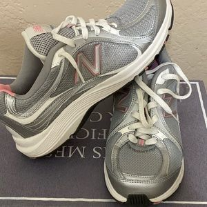 New Balance Grey and White Running Shoes